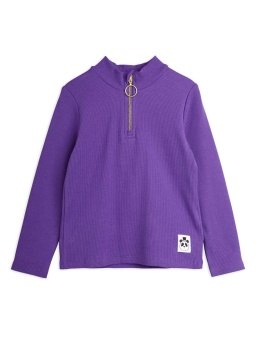 Rib ls zip tee Purple