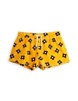 Flower check velour shorts Yellow
