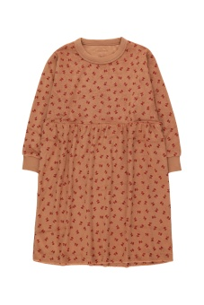 Tiny Flowers Dress Tan/Burgundy