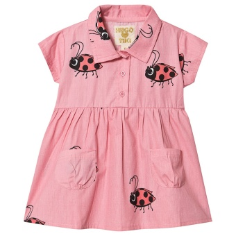 Ladybug Collar Pocket Dress Pink