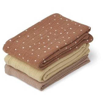 Line muslin cloth - 3 pack/Confetti terracotta mix