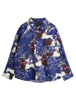 Reindeer Woven Shirt Blue