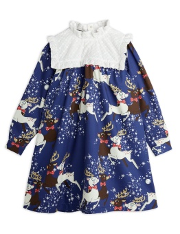 Reindeer Woven Long Sleeve Dress