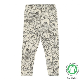 Paula Baby Leggings/ Cream, AOP Owl