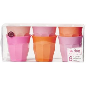 6-Pack Medium Melamin Mugg Classic Orange Rosa