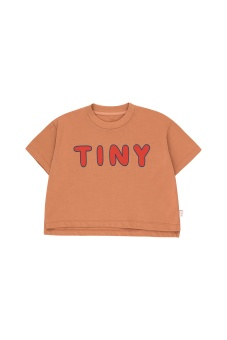 """TINY"" CROP TEE tan/red"