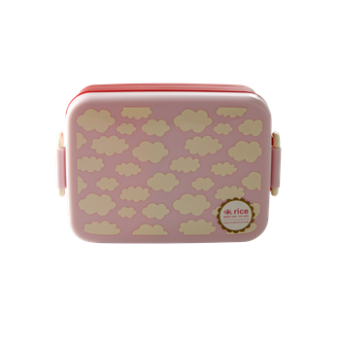Large Lunchbox with Divider Cloud Print Pink