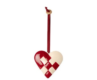 METAL ORNAMENT, BRAIDED HEART - RED