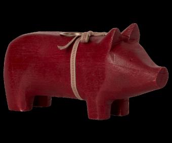Wooden pig, Medium - Red