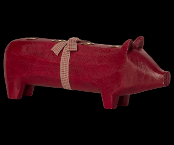 WOODEN PIG, LARGE - RED