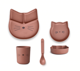 Jules junior bamboo set - Katt mörk rose