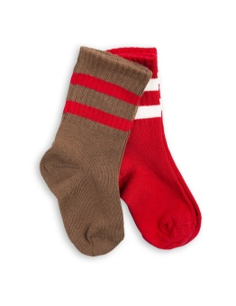 2 PACK STRIPE SOCK  brown/red