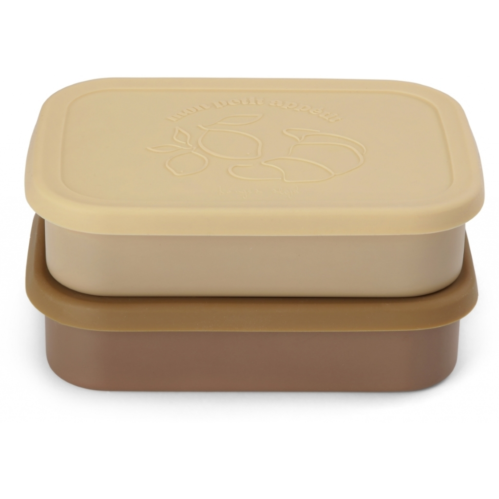 2 PACK FOOD BOXES LID SQUARE VANILLA YELLOW
