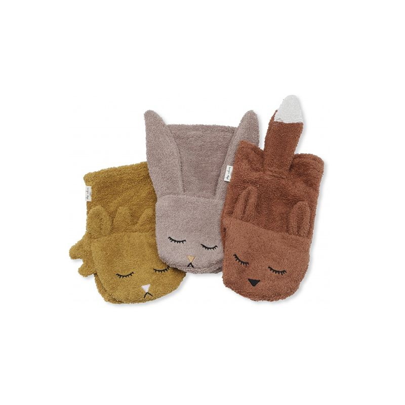 3 Pack wash cloths animals Girl