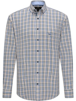 Fynch Hatton Twill Combi Check Taupe-Wave