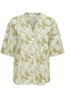 Cream Esta Shirt Cedar Green Leaf
