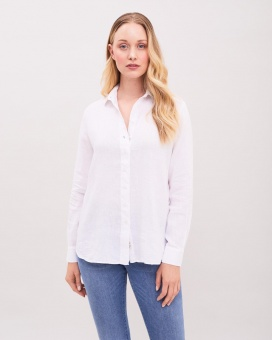 Newhouse Elsie Linen Shirt White