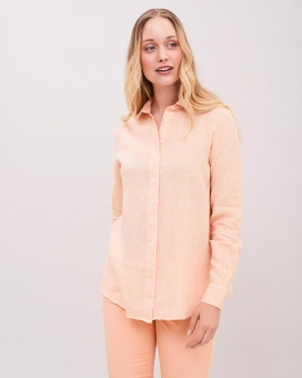 Newhouse Elsa Linen Shirt Peachy Orange