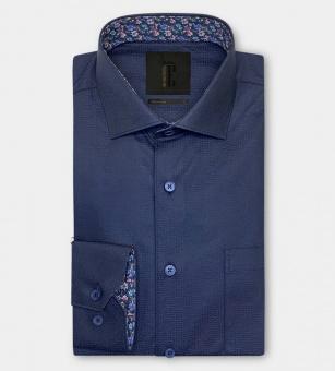 Dahlin Labyrintmönstrad Mörkblå Skjorta i Jaquard