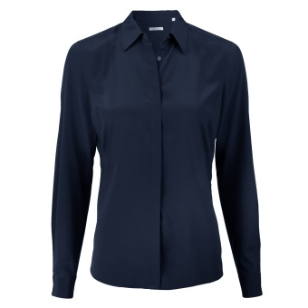 Stenströms Navy Feminine Silk Shirt, Stretch