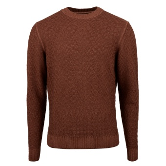Stenströms Brown Textured Merino Crew Neck