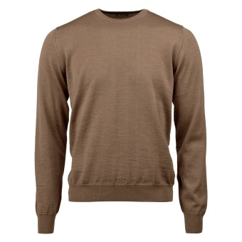 Stenströms Beige Merino Crew Neck With Patches