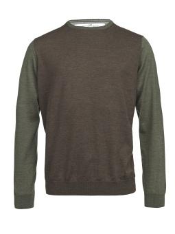 Hansen & Jacob Merino 3-Color Sweater Brown