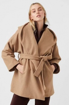 French Connection Favan Hooded Coat Camel