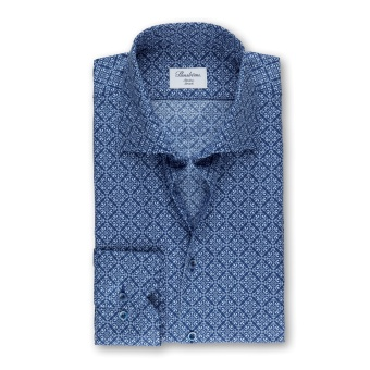 Navy Medallion Patterned Slimline Shirt