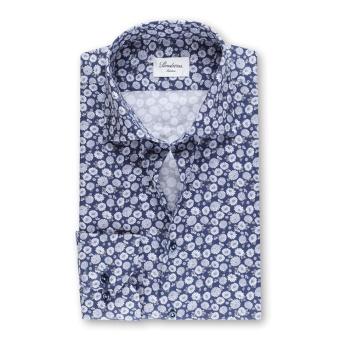 Stenströms Navy Floral Slimline Shirt