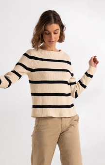 Boomerang Leonie Organic cotton Stripe Sweater Offwhite