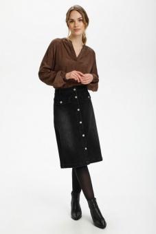 Kaffe Anina Denim Skirt Black Washed