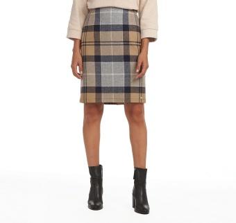 Barbour Nebit Pencil Skirt Oatmeal Tartan