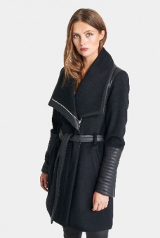 Rock and Blue Funnel Coat Black