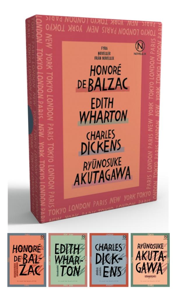 Presentask med stadsskildringar av Dickens, Wharton, Akutagawa & Balzac