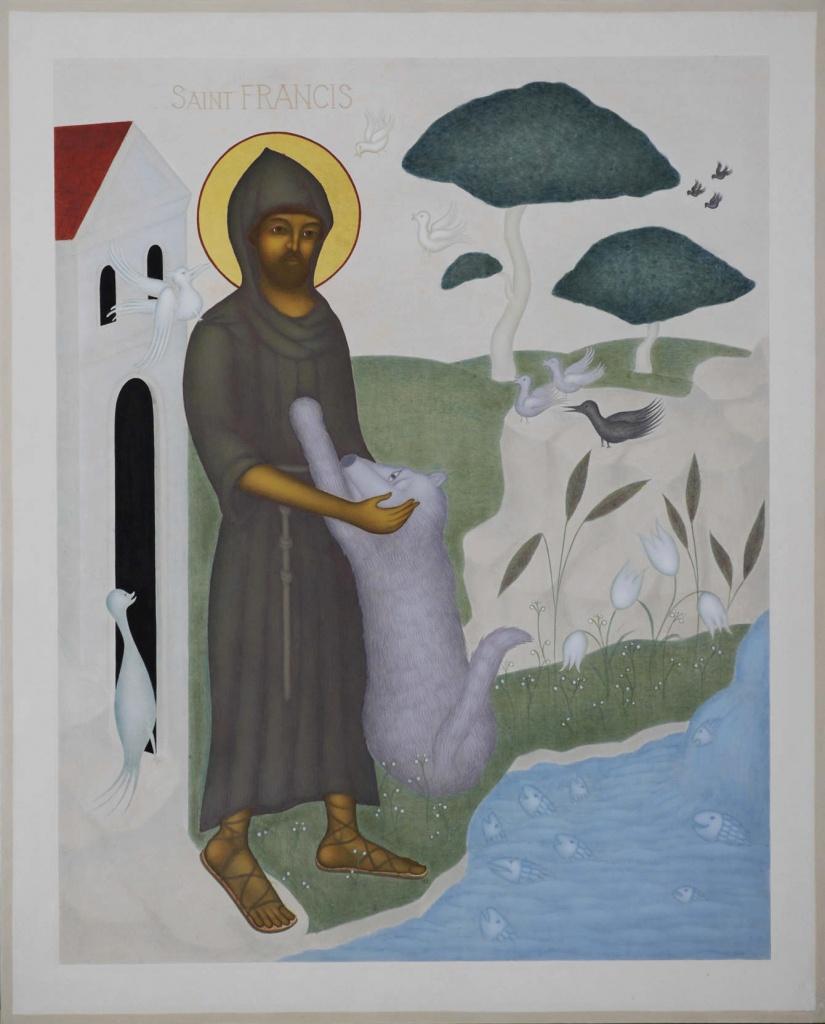Helige Franciskus, Ikontryck 40x34cm