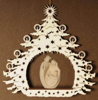 Heliga familjen inuti julgran, 14x14 cm, trä