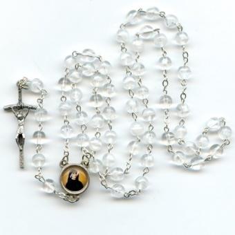Rosenkrans, transparenta pärlor (glas), 5 dekader