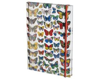 Fjärilar, blank/linjerad A5, m. snodd