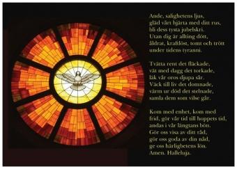 Vykort 105: Duva (mosaikfönster) med Stephen Langtons pingstsekvens