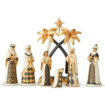 Black + Gold Nativity Set