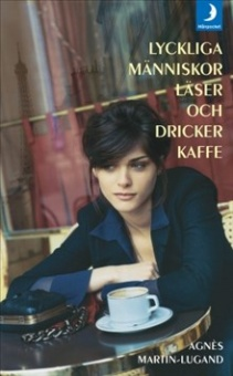 Lyckliga människor läser och dricker kaffe
