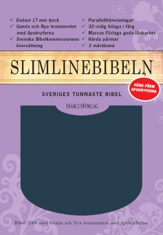 Bibel, slimline, hård blå cabrapärm, med apokryfer