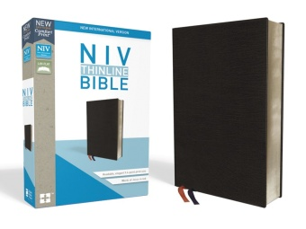 NIV, Thinline Bible, Bonded Leather, Black, Red Letter Edition