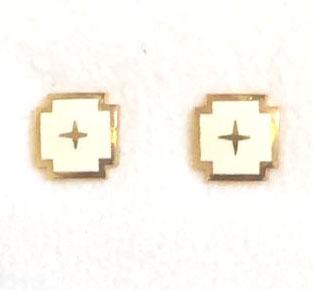 h11 Kors i vit emalj & guld