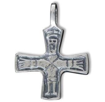 Vikingakors med kristusfigur, tenn
