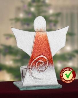 """Glasängel """"spiral"""" röd 10cm (med hållare för värmeljus)"""