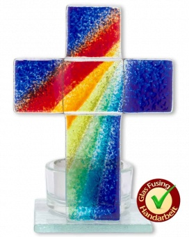"""Glaskors """"Regnbåge"""" 11 x 8 cm (med hållare för värmeljus)"""