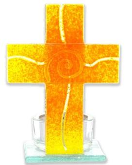 """Glaskors """"spiral"""" 11 x 8 cm (med hållare för värmeljus)"""