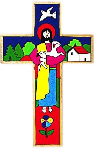 Den gode herden, handmålat kors